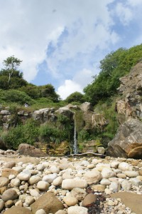 Hayburn Wike waterfall during a dry summer 2009.