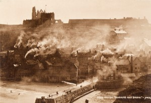 Abbey and a smoke covered Whitby