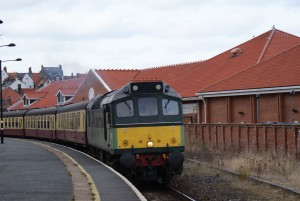 NYMR Diesel Train in Whitby station 2013.